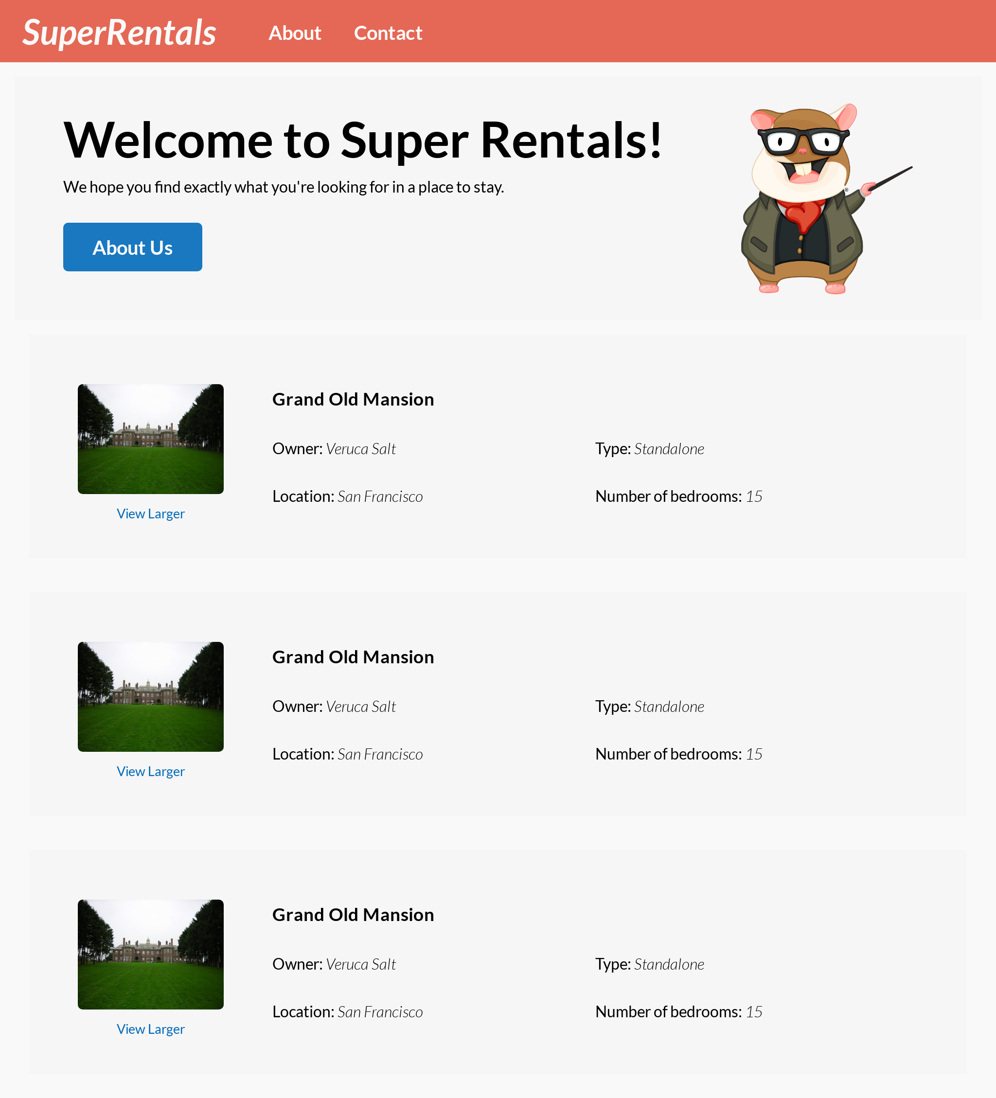 The Super Rentals app by the end of the chapter (default image size)