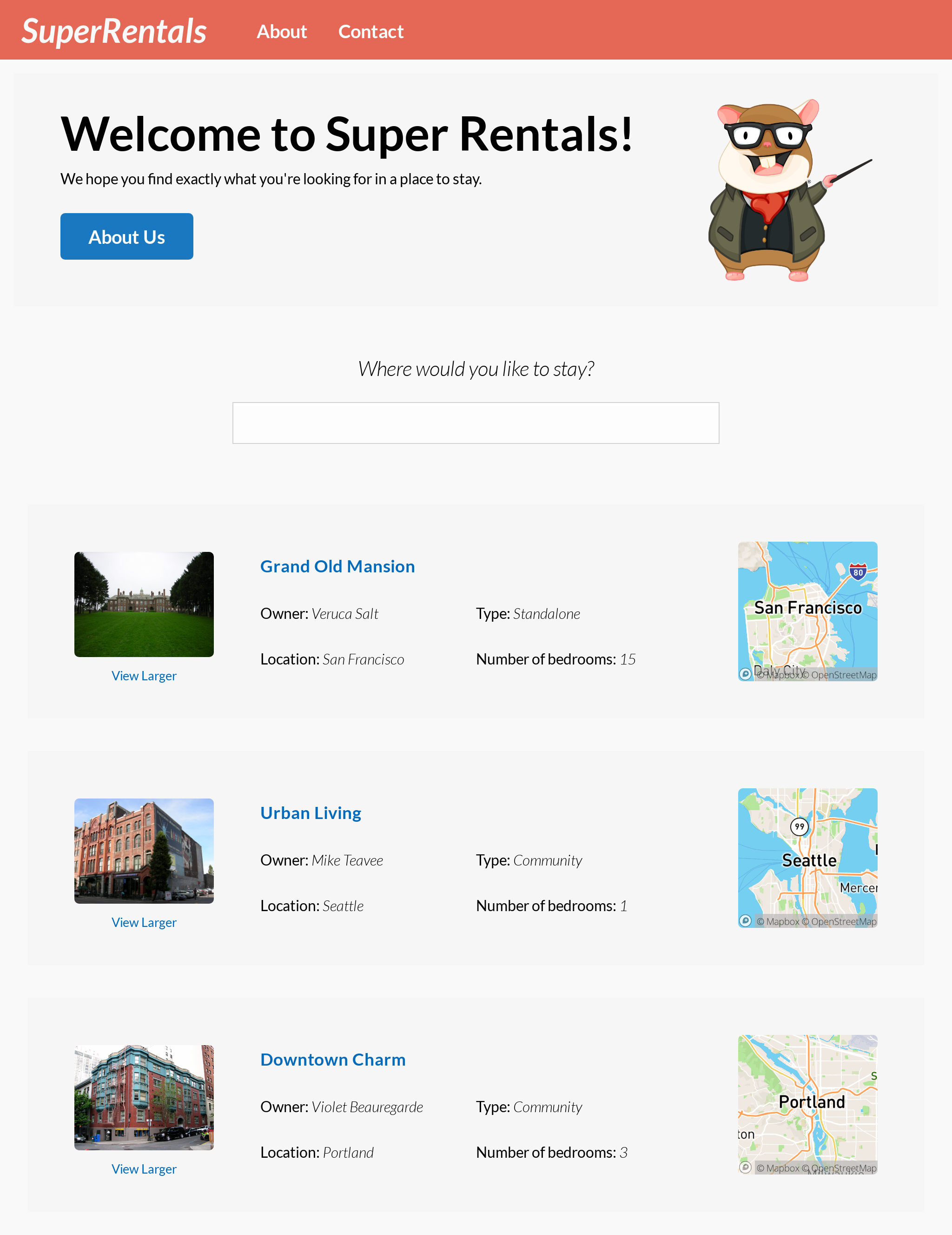 The finished Super Rentals app